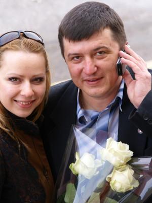 С дочкой поэта Жильцова – Анной, на презентации книги «Русы».